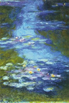 """WATER LILIES"" by Claude Monet  (1840-1925), who, with Renoir  Pissaro, founded Impressionism.   His serene, classic series of water lily paintings, with their dreamlike atmosphere and vivid colors, continues to provide strong inspiration  worldwide."