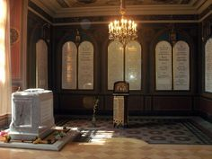 The final resting place of Tsar Nicholas II, his family, and their servants who were all assassinated in Yekaterinburg on July 17, 1918. This is in the Petropavlovsky Cathedral within the walls of the Petropavlovskaya Fortress in St. Petersburg.
