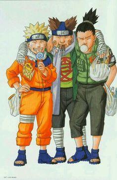 An original drawing of Naruto Uzumaki, Choji Akimichi and Shikamaru Nara by Masashi Kishimoto
