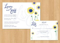 REALLY CUTE DIY Printable Sunflower Wedding Invitation by AnnaReeserDesign, $20.00 These are prettty....and you could always do green font instead of blue
