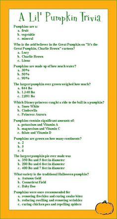 Pumpkin Trivia for a fall baby shower baby-shower