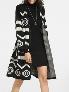 Collarless Knit Geometric Striped Cardigan Only $22.95 USD More info...