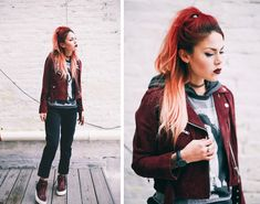 Le Happy wearing Obey burgundy jacket and Jim Morrison tee