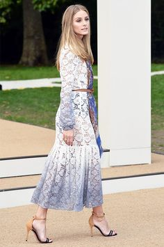 Olivia Palermo looks boho-chic in a dip-dyed lace dress and belted scarf.