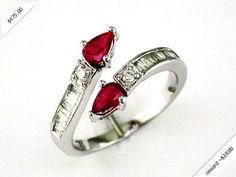 Women's Diamond & Ruby Ring in 14K White Gold (0.83 ctw)