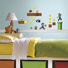 Amazon.com: RoomMates Nintendo Super Mario Build a Scene Peel and Stick Wall Decal, 45 Count: Game room