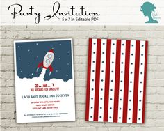 Spaceship/Rocket Party Invitation $10AUD by The Digi Dame Printable Party Decor thedigidame.com