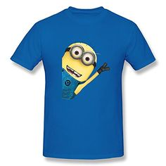 Jahei New Style Despicable Me Minions Shirts For Man RoyalBlue Small