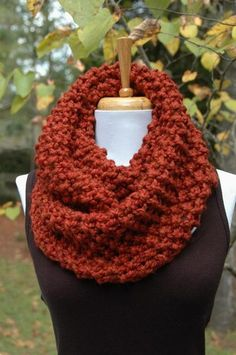 """Like me on Facebook to receive specials and updates! http://www.facebook.com/phylphilknits  Hand knit infinity scarf knit in a highly textured """"popcorn"""" stitch in Cinnamon Spice. See 4th photo for mor"""