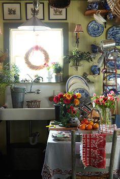 love the antique farm sink.