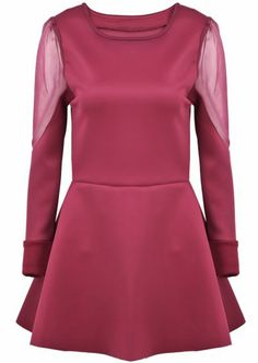 Red Contrast Mesh Yoke Long Sleeve Ruffle Dress pictures