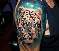 Snow Tiger tattoo by Tyler Malek - Tattoo Portal Taz Tattoo, Big Cat Tattoo, Tatoo Art, Color Tattoo, Snow Tattoo, White Tiger Tattoo, Tiger Hand Tattoo, Tiger Tattoo Design, Tatouage Taz