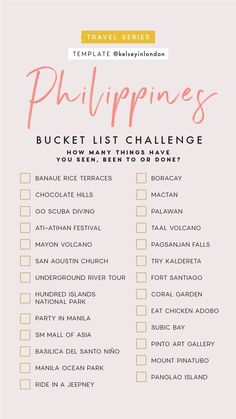 Traveling or want travel inspo? We got you covered whether you are flying solo or planning a girls getaway. Come explore with the Earth Below Girls. bucket list Explore with Female Travel & Lifestyle Experts the Earth Below Girls Voyage Philippines, Les Philippines, Philippines Travel, Philippines Country, Philippines Beaches, Travel Checklist, Travel List, Asia Travel, Travel Guides