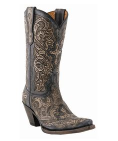 Charcoal Hand-Tooled Cowboy Boot