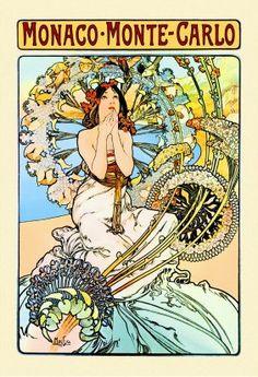 Alphonse Mucha's Art Monte Carlo Monaco, Process Art, Frames For Canvas Paintings, Canvas Art, Oil Paintings, Canvas Size, Vintage Posters, Vintage Art, Alphonse Mucha Art
