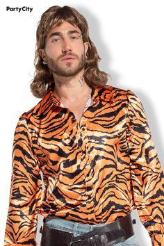 You'll show up to the party as no average Joe in this Exotic Tiger Lover costume set. Included are a faux leather holster and a satin button-up shirt in a vibrant orange and black tiger print. Finish the look with a classic pair of jeans, a few piercings, and a blond wig (each sold separately) and you're ready to make a scene as the king of cats this Halloween. Average Joe, Black Tigers, Leather Holster, Tiger Print, Costume Accessories, Blond, Button Up Shirts, Piercings, Wigs