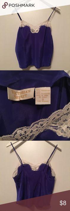 Vintage Victoria's Secret Lace Cami Size S slightly cropped, Royal blue w/ Ivory lace trim. great condition. Victoria's Secret Intimates & Sleepwear Chemises & Slips
