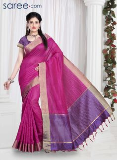 PINK AND PURPLE POLY SILK SAREE WITH WEAVING WORK