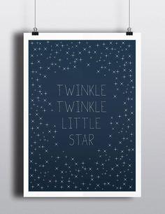 Bay Art Print, Twinkle Twinkle Little Star - Typography, Lullaby, Baby room, Nursery, Bary art, Stars, Sky