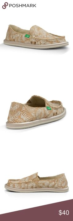 Sanuks Size 6 new never worn with tags tan with pattern Sanuk Shoes