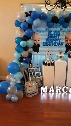 1st Birthday Boy Themes, Boss Birthday, Blue Birthday Parties, Baby Boy 1st Birthday Party, Baby Shower Decorations For Boys, Boy Baby Shower Themes, Shower Baby, Lego Bedroom, Childs Bedroom
