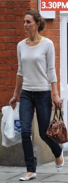 Hudson Colin Skinny Jeans, ballet flats and sweater. Favorite jeans, favorite outfit