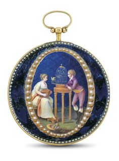 Chevalier Et Cochet. A Gold Enamel and Pearl Set - open face key wound verge watch Signet Chevalier Cochet, Movement No. 767, Circa 1800