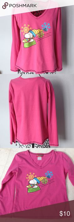"""Girls long sleeve Peanuts Snoopy pink top 60% cotton-40%  polyester gently worn top with black top stitching. Length 21 1/2"""", across front 18"""". Peanuts Shirts & Tops Tees - Long Sleeve"""