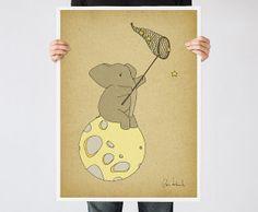 Moon and Stars Art print - Nursery Wall Art - Elephant Illustration