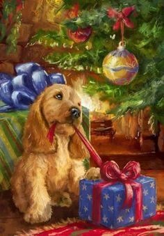 Perrito y regalos.