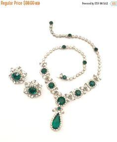 Vendome Green Rhinestone Demi Necklace & Earring by Vintageimagine