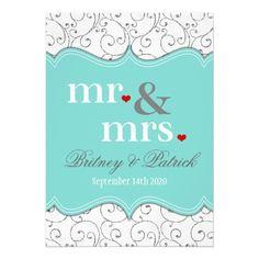 Mr Mrs Blue Wedding Invitations
