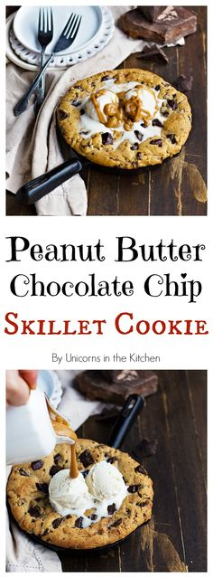All the ingredients for a perfect cookie are here! This Peanut Butter Chocolate Chip Skillet Cookie has it all plus a layer of chocolate peanut butter in the middle to make it heaven!
