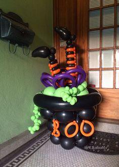 Halloween Ballon Dekor: Hexe im Kessel