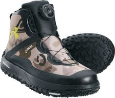 """Take on tough mountain conditions with the super-lightweight Men's Fat Tire Hunting Boots from Under Armour. Composite textile uppers boast the BOA® speed closure system for exceptional stability. GORE-TEX® breathable waterproofing.  Ht:  7"""".  Avg. wt:  2 lbs./pair.  Men's sizes:  8-14 medium width. Half sizes to 12.  Camo pattern:  Ridge Reaper® Barren."""