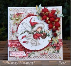 I'm back to traditional Christmas colours for today's card, which features the super sweet Merry Wishes from the latest Whimsy Stamps rele. Christmas Cards To Make, Christmas Paper, Xmas Cards, Handmade Christmas, Christmas Crafts, Christmas Tree, Crafters Companion Christmas Cards, Whimsy Stamps, Kids Birthday Cards