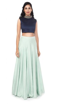 Blue Raw Silk Choli with Mint Green Lengha