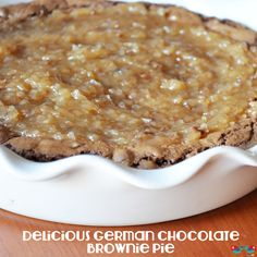 A Delicious German Chocolate Brownie Pie: The base is a rich and fudgy German Chocolate Brownie with Coconut Pecan Frosting. {The Love Nerds} No Bake Desserts, Just Desserts, Delicious Desserts, Dessert Recipes, Yummy Food, Pie Dessert, Eat Dessert First, German Chocolate Brownies, Yummy Treats