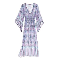 CALYPSO St. Barth Jinerva Printed Silk Caftan ($299) ❤ liked on Polyvore featuring tops, tunics, dresses, lavndrcc, silk caftan, sheer top, v neck tunic, silk top and sheer caftan