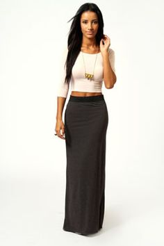 fashion, maxi skirt outfits, style, crop tops, contrast waistband, maxis, black white, summer outfits, maxi skirts