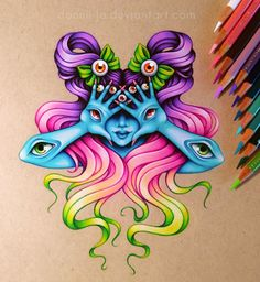 The colouring of this drawing is amazing! dannii-jo (Danielle J. Cool Art Drawings, Pencil Art Drawings, Art Sketches, Pretty Art, Cute Art, Scratchboard Art, Grunge Art, Hippie Art, Color Pencil Art