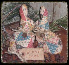 Stuffed primitive rabbits | Details about 2 PriMiTive CoUnTrY Faux Patchwork Bunny Love Bowl ...