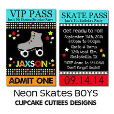 VIP lanyard Badge NEON BoYs Custom Invites Digital Printable Roller Skating  Invitations  Printable - U Print