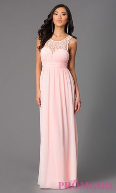 Image of long sleeveless lace embellished neckline dress Style: LP-21299 Front Image