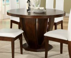 Round Dining Table of Elmhurst Collection by Homelegance by Homelegance. $532.82. The Stylish Contemporary Design Of The Elmhurst Collection Creates A Perfect Enhancement To Any Dining Room decor; The distinct table designs include: counter and traditional dining height tables that feature wine base storage, a round tulip base and rectangular leg table; Chair styles are offered in both white and dark brown (white only for counter height), bi-cast vinyl, completing the c...