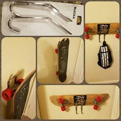 Blecka from Ikea makes a fabulous skateboard holder. I'd recommend mounting the hooks to a small piece of wood block then attaching the block (with hooks) to the wall. This will help the skateboard to not rest on the wall directly.  Or.... hang the wheels from the hooks. Technically it can hold 2 skateboards if you use it both ways. The hooks were only about $6 at ikea!