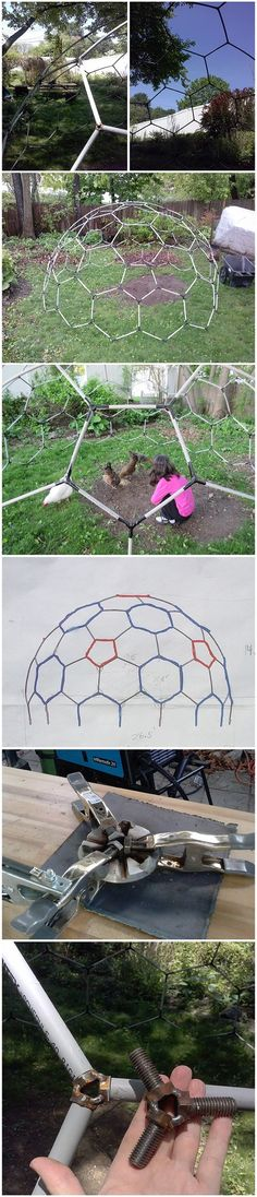 Dome Geodesic, Dome Home Kits, Pvc Conduit, Dome Structure, Chicken Pen, Eco Architecture, Dome House, Greenhouse Plans, Backyard Playground
