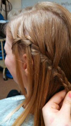 Carson's hair waterfall braid!!