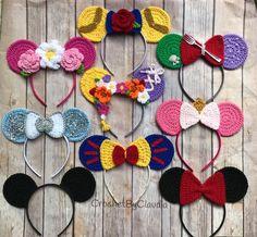 Crochet Headband Crochet Princess Mouse Ears/ One size/ Crochet/Made to Order Crochet Disney, Crochet Mickey Mouse, Disney Crochet Patterns, Crochet Bookmark Pattern, Crochet Headband Pattern, Crochet Bookmarks, Crochet Headbands, Crochet Character Hats, Crochet Princess