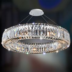Sparkling Crystal Block Ring Chandelier - Shades of Light Closet Chandelier, Ring Chandelier, Crystal Chandelier Lighting, Chandelier Shades, Modern Chandelier, Modern Crystal Chandeliers, Crystal Lights, Square Chandelier, Bubble Chandelier